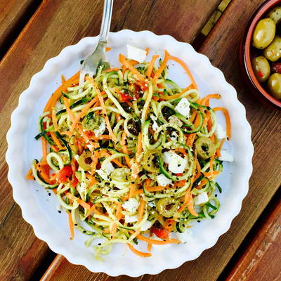 Vegetarian Pesto Courgette N Carrot Noodles with Feta Cheese and Olives
