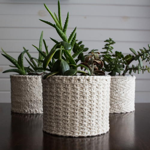 Jute Stitch Plant Cozy Knitting Pattern