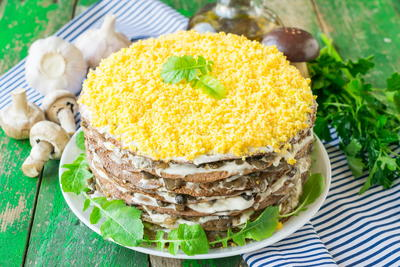 Russian Layered Liver Cake