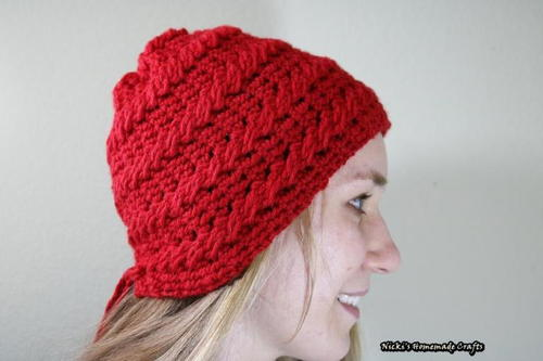 Shortened Cable Stitch Lace Up Crochet Beanie