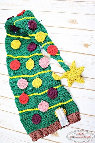 Festive Christmas Tree Extra Long Crochet Hat