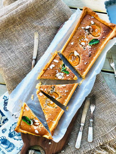 Almond Flour Cake with Apricots Coconut and Mint