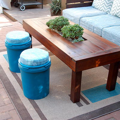 DIY IndoorOutdoor Paint Can Stools