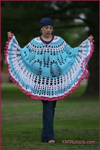 Cotton Candy Vintage Crochet Poncho Pattern