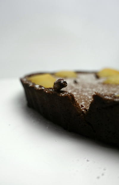 Poached Pear and Chocolate Custard Tart