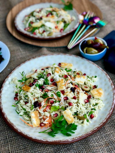 All Seasons Orzo Halloumi and Olive Salad