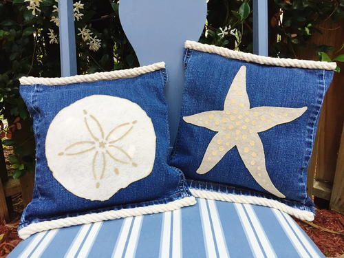 Starfish and Sand Dollar Recycled Denim Pillows