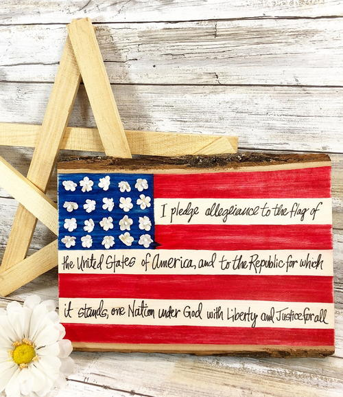 Hand Lettered American Flag Plaque