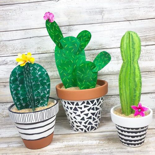 Modern Recycled Faux Cactus