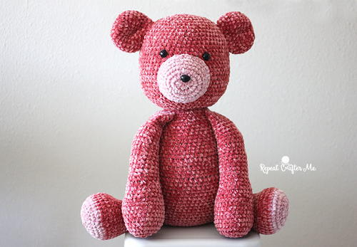 Red Velvet Crochet Teddy Bear Pattern
