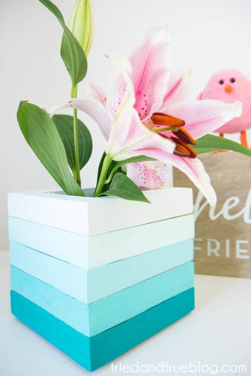 Upcycled Ombre Wooden Vase DIY