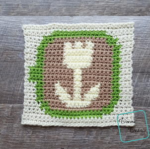 8″ Tapestry Tulip Art Coffee Afghan Square