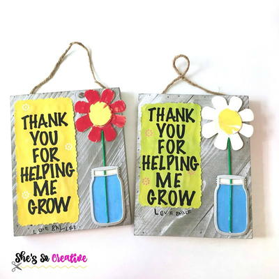 Painted Flower Plaque Teacher Gifts