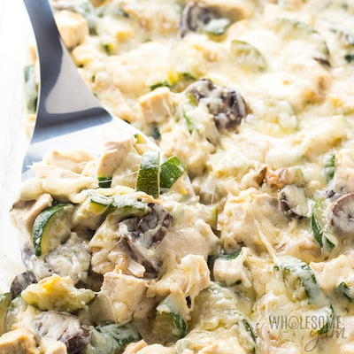 Low Carb Chicken Zucchini Casserole Recipe with Gruyere Cheese Sauce