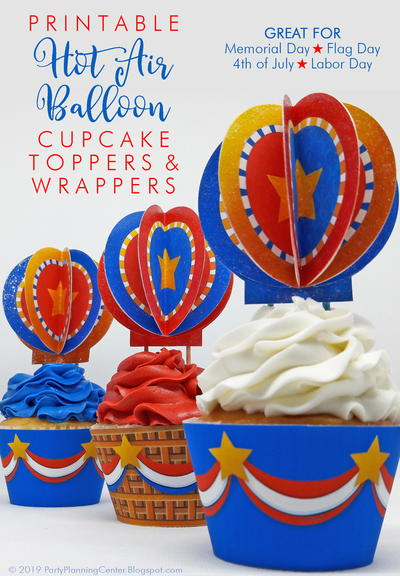 Hot Air Balloon Patriotic Cupcake Decorations