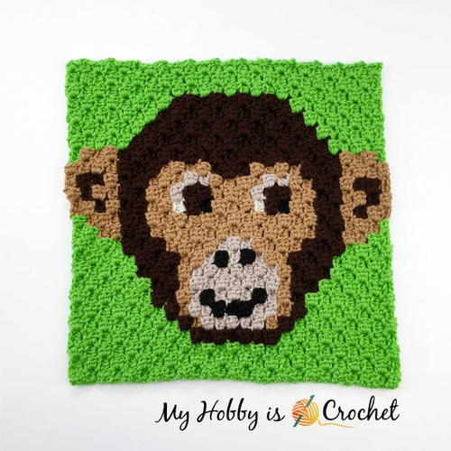 Chimp Lolo C2C Square - Wildlife Graphghan