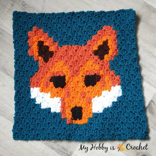 Lava Fox C2C Square - Wildlife Graphghan