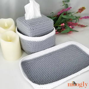Pampering Vanity Set: Tissue Box Organizer & Tray