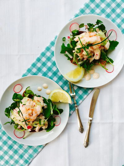 Prawn Radish and Cucumber Open Sandwich