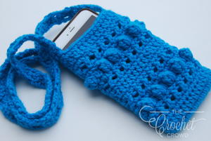 Blue Crochet Cell Phone Case with Strap Pattern