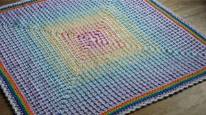 Rainbow Square Crochet Baby Blanket Pattern