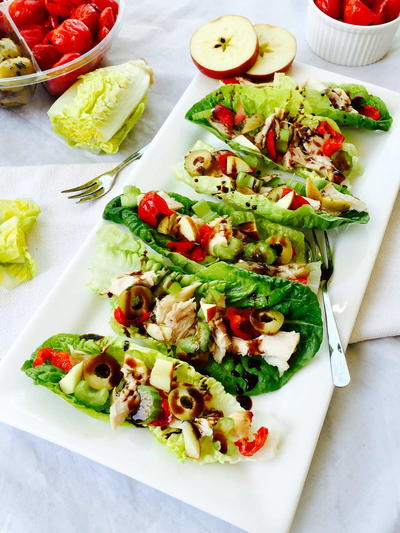 Gem Lettuce, Chicken and Apple Little Boats