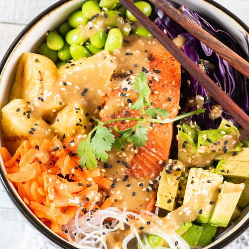Miso-Ginger Grilled Salmon Bowl