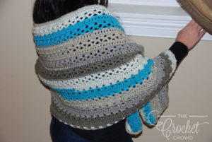 Blue and White Elegant Crochet Shawl