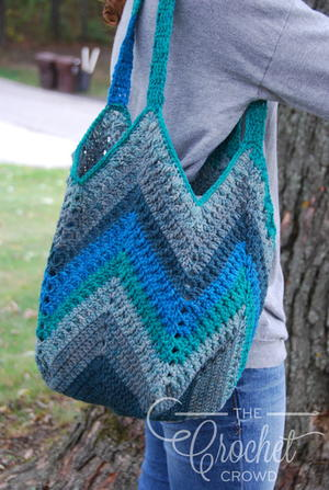 Puff Stitch Chevron Crochet Shoulder Bag