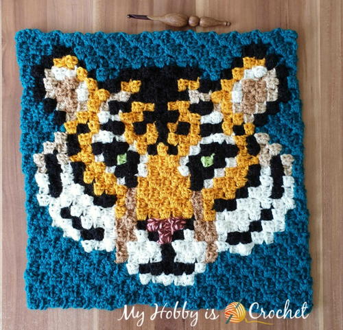 """Tigris, the Siberian Tiger"" - C2C Square - Wildlife Graphghan"