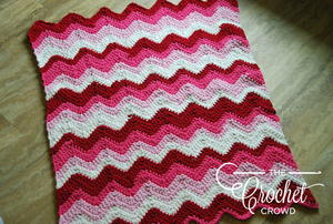 Pink Chevron Baby Girl Crochet Blanket