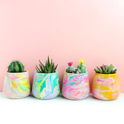 Colorful Marbled DIY Planters