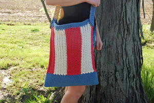Easy Red, White, and Blue Crochet Bag