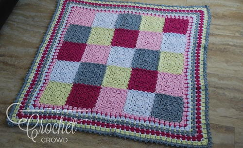 Colorful Block Stitch Crochet Baby Afghan