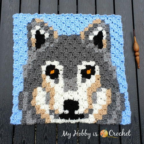 Grey Wolf C2C Square - Wildlife Graphghan