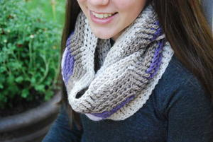 Purple Stripe Crochet Infinity Scarf
