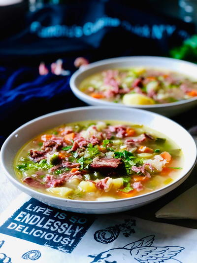 Potato Soup with Ham Hock and Petit Pois Garden Peas