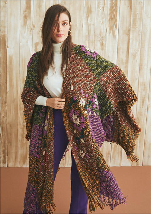 Patchwork Poncho Knitting Pattern