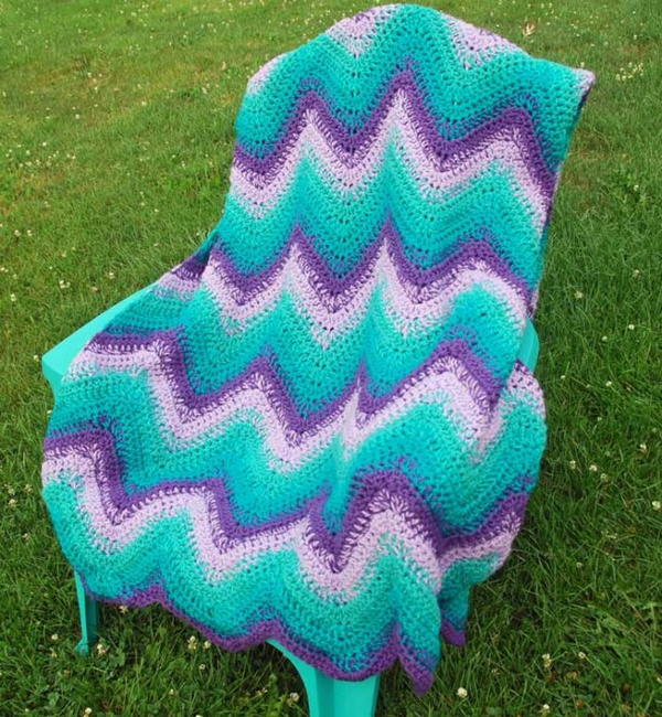 Pretty Cool Colors Large Crochet Blanket
