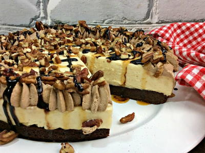Decadent Turtle Brownie Cheesecake