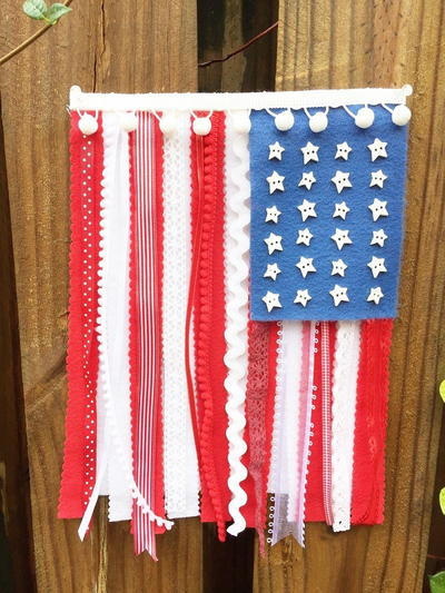 Patriotic Felt, Ribbon and Lace Flag