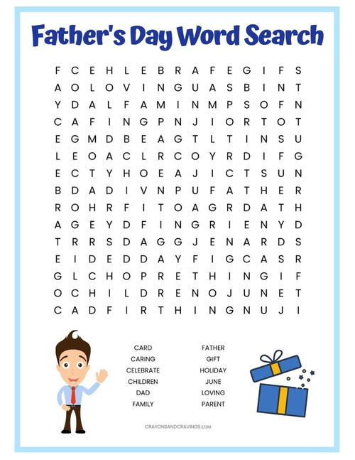 Father's Day Word Search Printable
