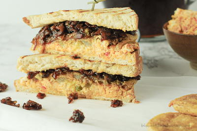 Sandwich with Fried Green Tomatoes, Pimento Cheese & Bacon Jam