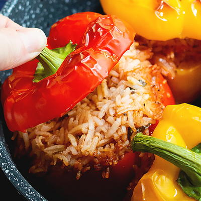 Meatless Stuffed Peppers with Rice