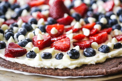 Red, White & Blue Patriotic Brownie Pizza