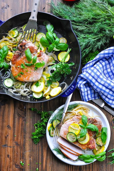 Skillet Pork Chops with Zucchini and Squash