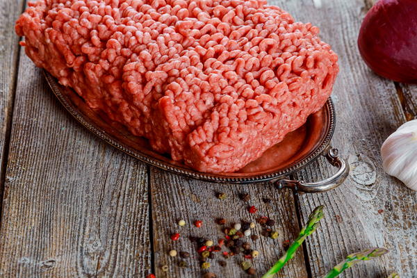 A platter of ground beef