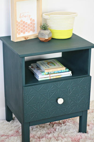 DIY Faux Embossed Nightstand