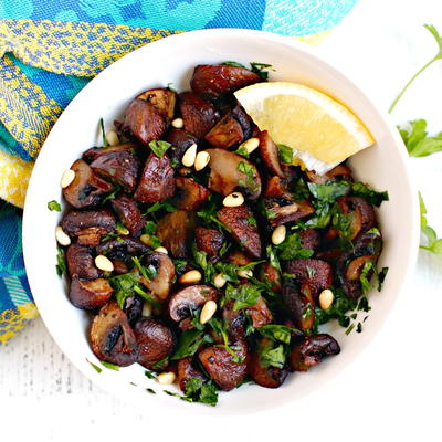 Oven Roasted Mushrooms with Pine Nuts