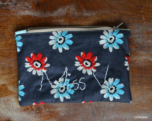 Easy Zipper Bag with Embroidery
